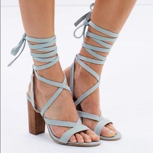 Light Wash Denim Lace Up Heels